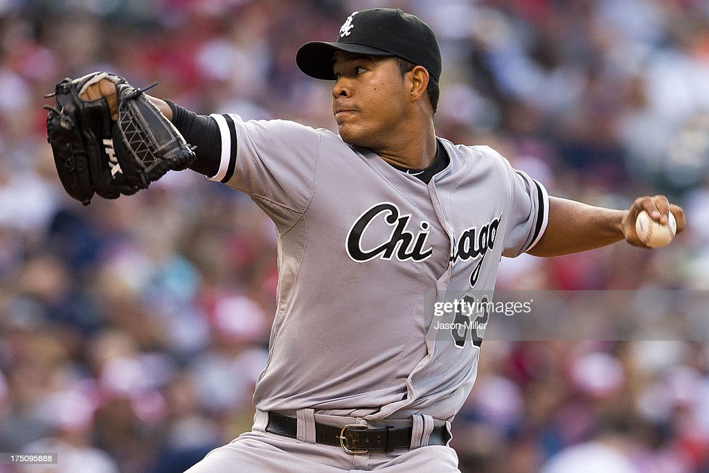 Starting pitcher Jose Quintana #62 of the Chicago White Sox pitches during the second inning against the Cleveland Indians at Progressive Field on July 31, 2013 in Cleveland, Ohio.