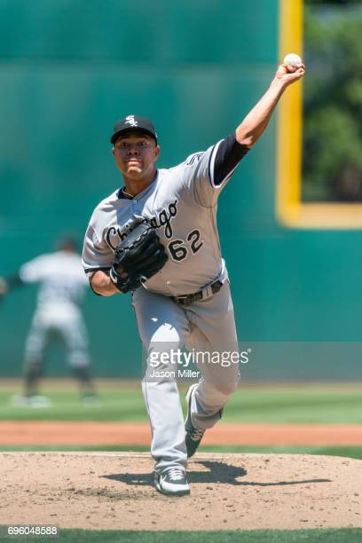Starting pitcher Jose Quintana of the Chicago White Sox pitches during the second inning against the Cleveland Indians at Progressive Field on June...