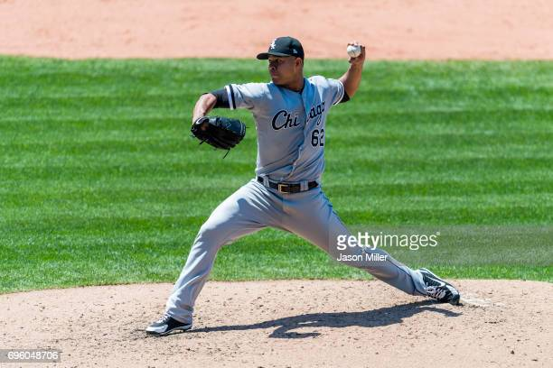 Starting pitcher Jose Quintana of the Chicago White Sox pitches during the fourth inning against the Cleveland Indians at Progressive Field on June...