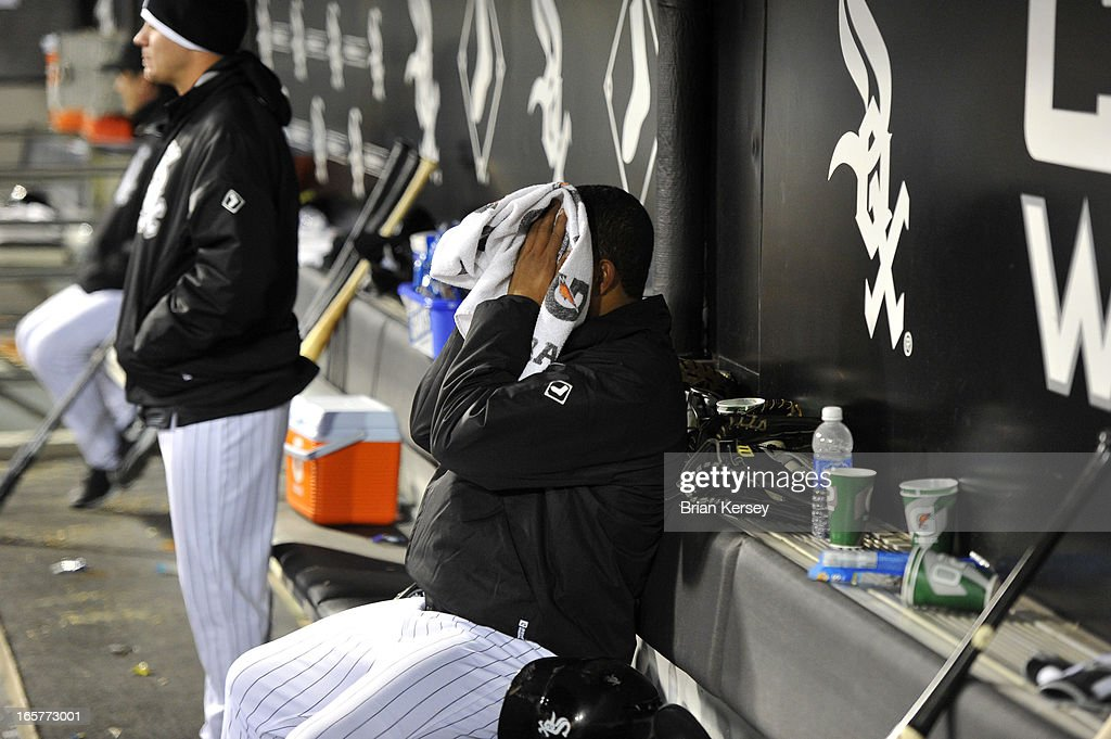 Starting pitcher Jose Quintana #62 of the Chicago White Sox sits on the bench after he was taken out of the game in the fifth inning after giving up five runs to the Seattle Mariners on April 5, 2012 at U.S. Cellular Field in Chicago, Illinois.