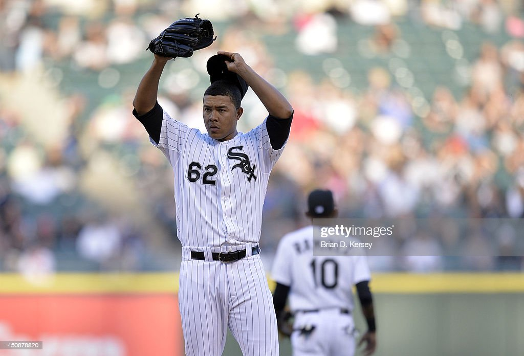 Starting pitcher Jose Quintana #62 of the Chicago White Sox stands on the mound in the first inning during the game against the Kansas City Royals at U.S. Cellular Field on June 13, 2014 in Chicago, Illinois. The Royals defeated the White Sox 7-2.