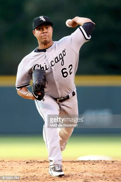 Starting pitcher Jose Quintana throws in the first inning against the Colorado Rockies at Coors Field on July 8 2017 in Denver Colorado