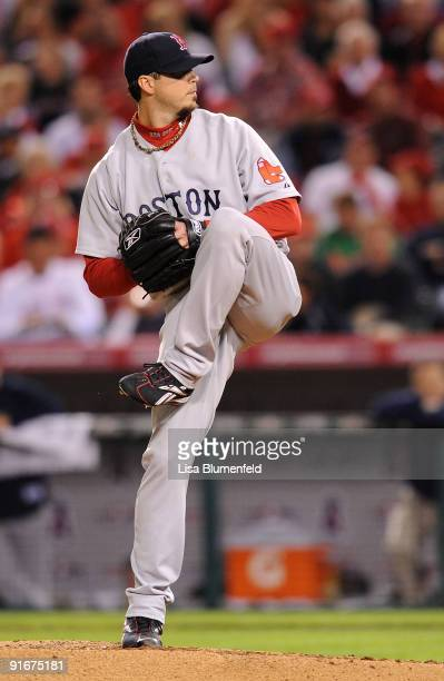 Starting pitcher Josh Beckett of the Boston Red Sox on the mound against the Los Angeles Angels of Anaheim during the first inning of Game Two of the...