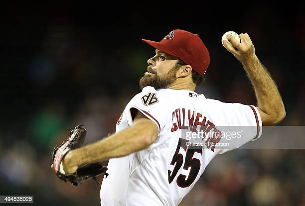 Starting pitcher Josh Collmenter of the Arizona Diamondbacks pitches against the Cincinnati Reds during the MLB game at Chase Field on May 29 2014 in...