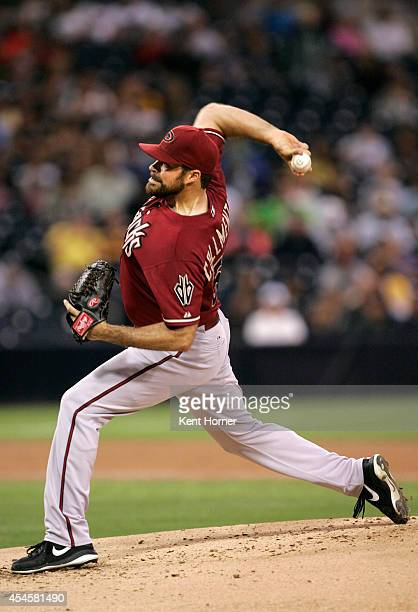Starting pitcher Josh Collmenter of the Arizona Diamondbacks throws the ball in the 1st inning of the game against the San Diego Padres at Petco Park...