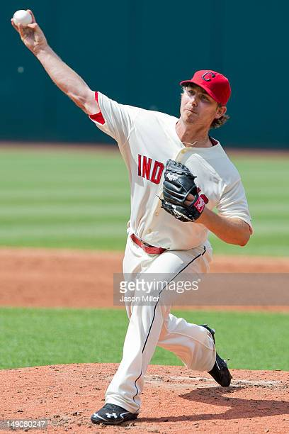 Starting pitcher Josh Tomlin of the Cleveland Indians pitches during the third inning against the Baltimore Orioles at Progressive Field on July 22...