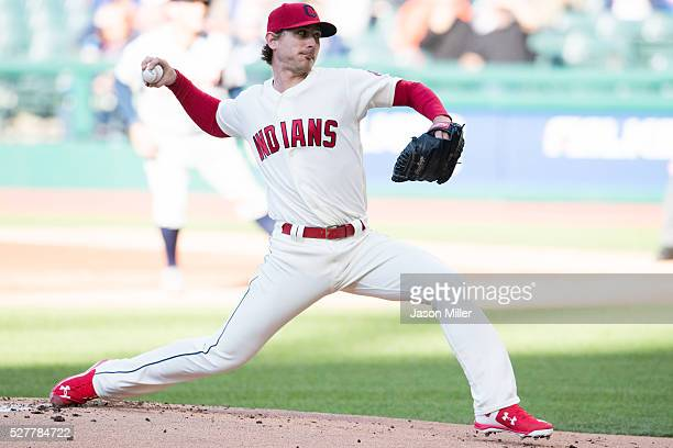 Starting pitcher Josh Tomlin of the Cleveland Indians pitches during the first inning against the Detroit Tigers at Progressive Field on May 3 2016...