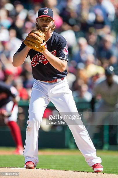 Starting pitcher Josh Tomlin of the Cleveland Indians pitches during the first inning against the Chicago White Sox at Progressive Field on September...