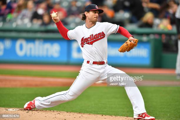 Starting pitcher Josh Tomlin of the Cleveland Indians pitches during the first inning against the Chicago White Sox at Progressive Field on April 13...