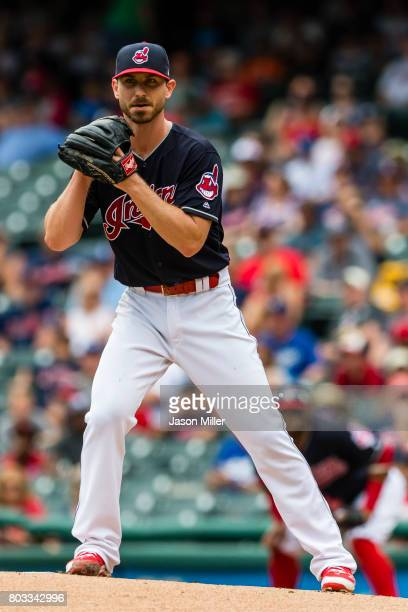 Starting pitcher Josh Tomlin of the Cleveland Indians pitches during the first inning against the Los Angeles Dodgers at Progressive Field on June 15...
