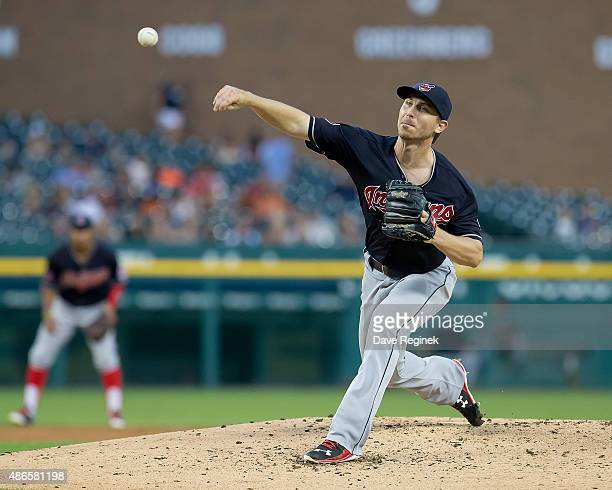 Starting pitcher Josh Tomlin of the Cleveland Indians throws in the third inning against the Detroit Tigers at Comerica Park on September 4 2015 in...