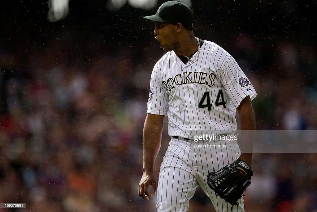 Starting pitcher <a gi-track='captionPersonalityLinkClicked' href=/galleries/search?phrase=Juan+Nicasio&family=editorial&specificpeople=6889135 ng-click='$event.stopPropagation()'>Juan Nicasio</a> #44 of the Colorado Rockies reacts after getting a strike out to end the sixth inning against the San Francisco Giants at Coors Field on May 19, 2013 in Denver, Colorado. The Rockies defeated the Giants 5-0.