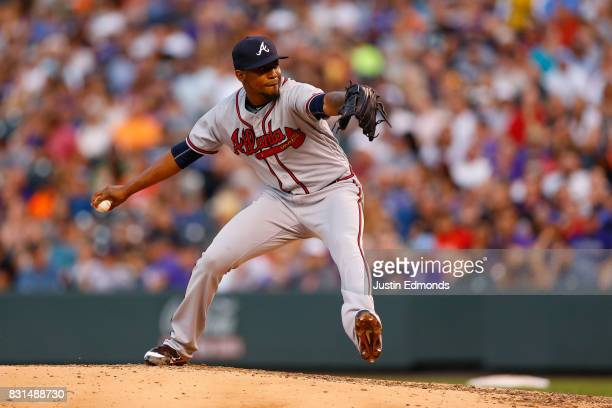 Starting pitcher Julio Teheran of the Atlanta Braves delivers to home plate during the fourth inning during the game against the Colorado Rockies at...