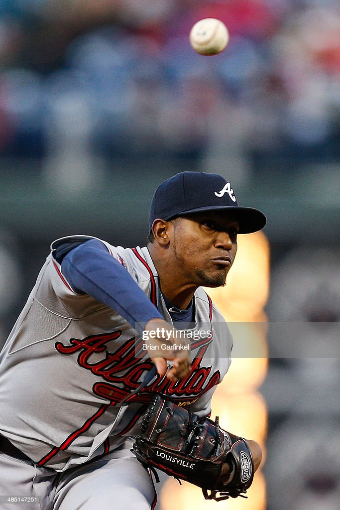 Starting pitcher <a gi-track='captionPersonalityLinkClicked' href=/galleries/search?phrase=Julio+Teheran&family=editorial&specificpeople=7091636 ng-click='$event.stopPropagation()'>Julio Teheran</a> of the Atlanta Braves throws a pitch in the first inning of the game against the Philadelphia Phillies at Citizens Bank Park on April 16, 2014 in Philadelphia, Pennsylvania. All uniformed team members are wearing jersey number 42 in honor of Jackie Robinson Day.