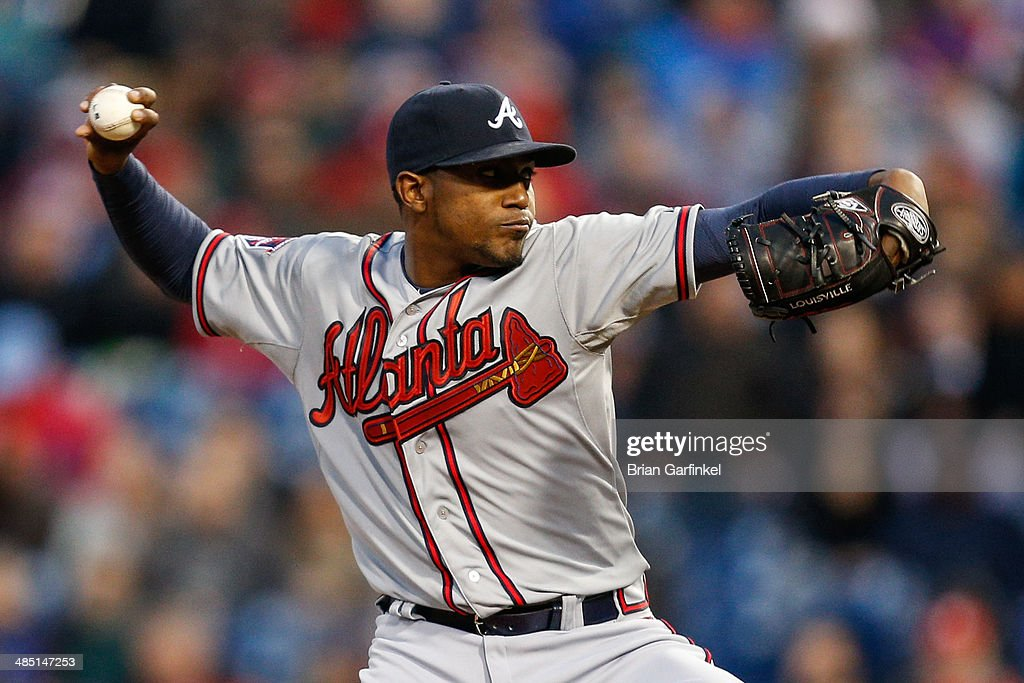 Starting pitcher <a gi-track='captionPersonalityLinkClicked' href=/galleries/search?phrase=Julio+Teheran&family=editorial&specificpeople=7091636 ng-click='$event.stopPropagation()'>Julio Teheran</a> of the Atlanta Braves throws a pitch in the second inning of the game against the Philadelphia Phillies at Citizens Bank Park on April 16, 2014 in Philadelphia, Pennsylvania. All uniformed team members are wearing jersey number 42 in honor of Jackie Robinson Day.