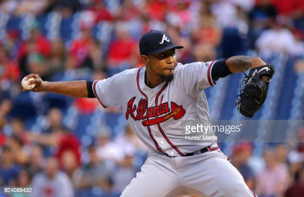 Starting pitcher Julio Teheran of the Atlanta Braves throws a pitch in the first inning during a game against the Philadelphia Phillies at Citizens...