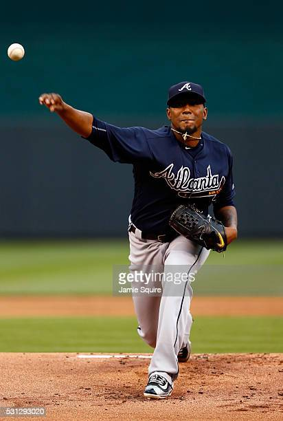 Starting pitcher Julio Teheran of the Atlanta Braves warms up prior to the game against the Kansas City Royals on May 13 2016 in Kansas City Missouri