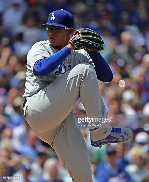 Starting pitcher Julio Urias of the Los Angeles Dodgers pitches against the Chicago Cubs at Wrigley Field on June 2 2016 in Chicago Illinois