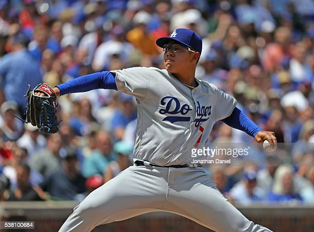 Starting pitcher Julio Urias of the Los Angeles Dodgers pitches against the Chicago Cubs at Wrigley Field on June 2 2016 in Chicago Illinois The Cubs...