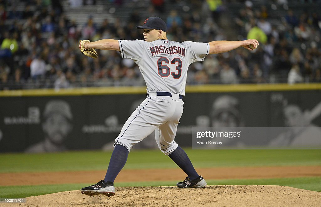 Starting pitcher <a gi-track='captionPersonalityLinkClicked' href=/galleries/search?phrase=Justin+Masterson&family=editorial&specificpeople=4950538 ng-click='$event.stopPropagation()'>Justin Masterson</a> #63 of the Cleveland Indians delivers during the first inning against the Chicago White Sox at U.S. Cellular Field on September 26, 2012 in Chicago, Illinois.
