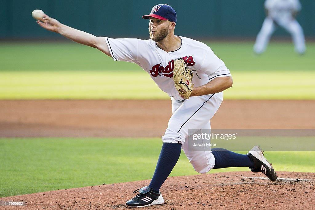 Starting pitcher <a gi-track='captionPersonalityLinkClicked' href=/galleries/search?phrase=Justin+Masterson&family=editorial&specificpeople=4950538 ng-click='$event.stopPropagation()'>Justin Masterson</a> #63 of the Cleveland Indians pitches during the second inning against the Tampa Bay Rays at Progressive Field on July 6, 2012 in Cleveland, Ohio.