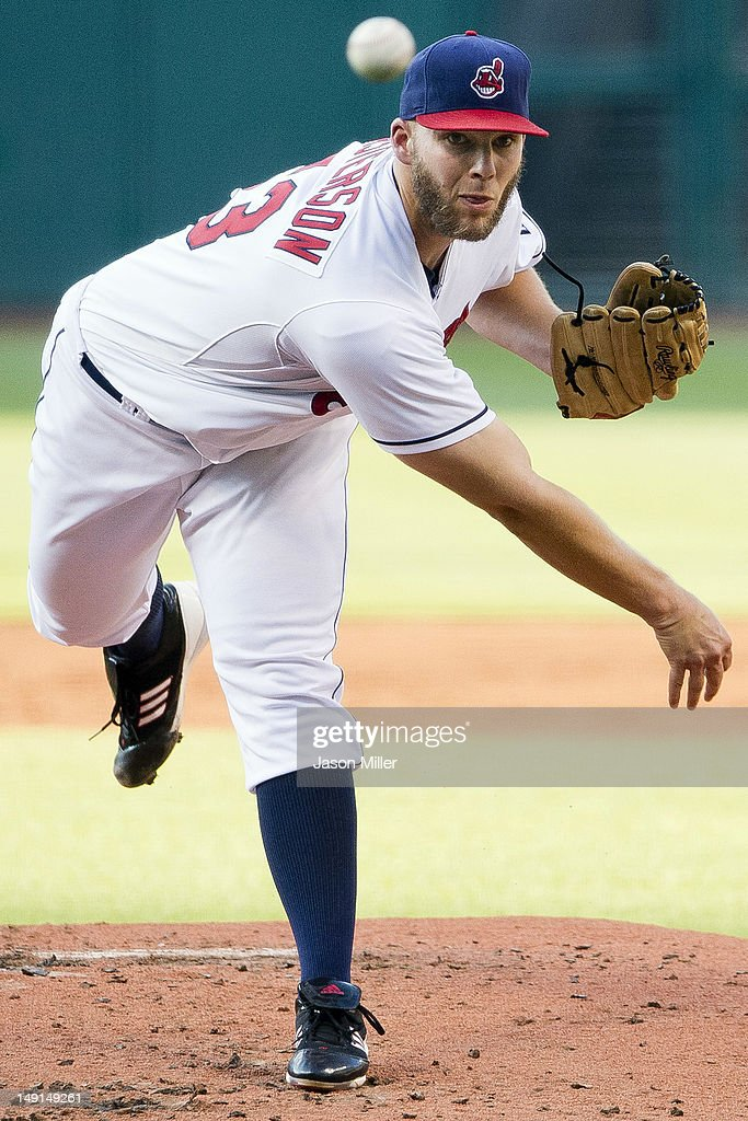 Starting pitcher <a gi-track='captionPersonalityLinkClicked' href=/galleries/search?phrase=Justin+Masterson&family=editorial&specificpeople=4950538 ng-click='$event.stopPropagation()'>Justin Masterson</a> #63 of the Cleveland Indians pitches during the second inning against the Baltimore Orioles at Progressive Field on July 23, 2012 in Cleveland, Ohio.