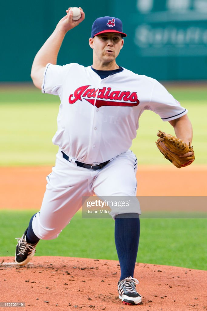 Starting pitcher <a gi-track='captionPersonalityLinkClicked' href=/galleries/search?phrase=Justin+Masterson&family=editorial&specificpeople=4950538 ng-click='$event.stopPropagation()'>Justin Masterson</a> #63 of the Cleveland Indians pitches during the first inning against the Detroit Tigers at Progressive Field on August 6, 2013 in Cleveland, Ohio.