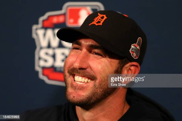 Starting pitcher Justin Verlander of the Detroit Tigers answers questions during World Series Media Day at ATT Park on October 23 2012 in San...