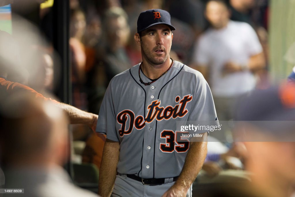Starting pitcher <a gi-track='captionPersonalityLinkClicked' href=/galleries/search?phrase=Justin+Verlander&family=editorial&specificpeople=556723 ng-click='$event.stopPropagation()'>Justin Verlander</a> #35 of the Detroit Tigers leaves the game after the seventh inning when he gave up four runs to the Cleveland Indians at Progressive Field on July 26, 2012 in Cleveland, Ohio.