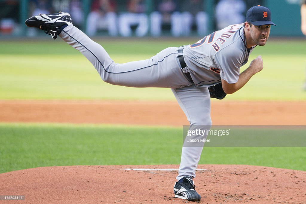 Starting pitcher <a gi-track='captionPersonalityLinkClicked' href=/galleries/search?phrase=Justin+Verlander&family=editorial&specificpeople=556723 ng-click='$event.stopPropagation()'>Justin Verlander</a> #35 of the Detroit Tigers pitches during the first inning against the Cleveland Indians at Progressive Field on August 6, 2013 in Cleveland, Ohio.