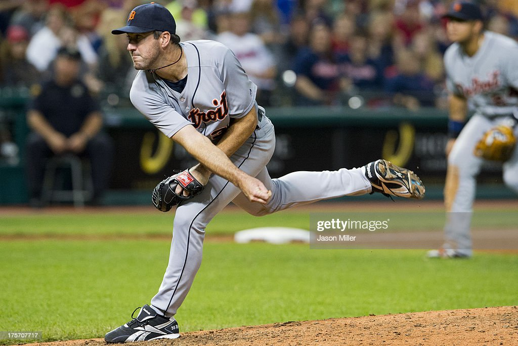 Starting pitcher <a gi-track='captionPersonalityLinkClicked' href=/galleries/search?phrase=Justin+Verlander&family=editorial&specificpeople=556723 ng-click='$event.stopPropagation()'>Justin Verlander</a> #35 of the Detroit Tigers pitches during the eighth inning against the Cleveland Indians at Progressive Field on August 6, 2013 in Cleveland, Ohio. The Tigers defeated the Indians 5-1.