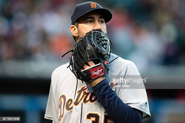 Starting pitcher Justin Verlander of the Detroit Tigers reacts after the end of the fifth inning where he gave up a three run home run to Francisco...