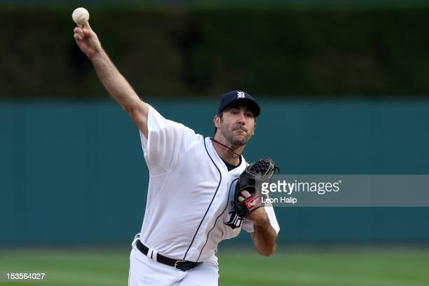 Starting pitcher Justin Verlander of the Detroit Tigers throws a pitch against the Oakland Athletics during Game One of the American League...