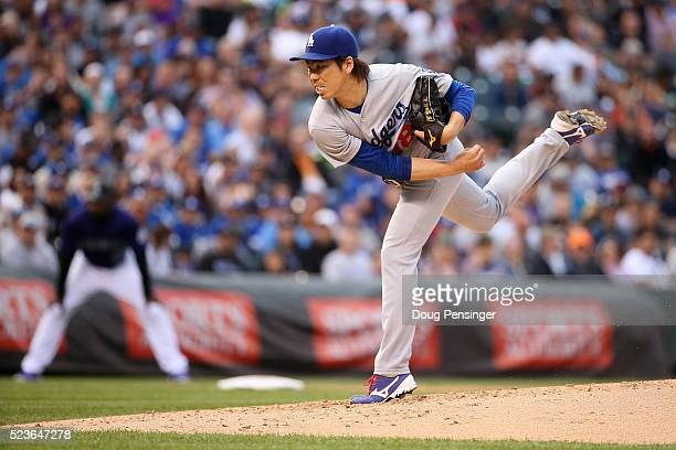 Starting pitcher Kenta Maeda of the Los Angeles Dodgers works against the Colorado Rockies at Coors Field on April 23 2016 in Denver Colorado Maeda...