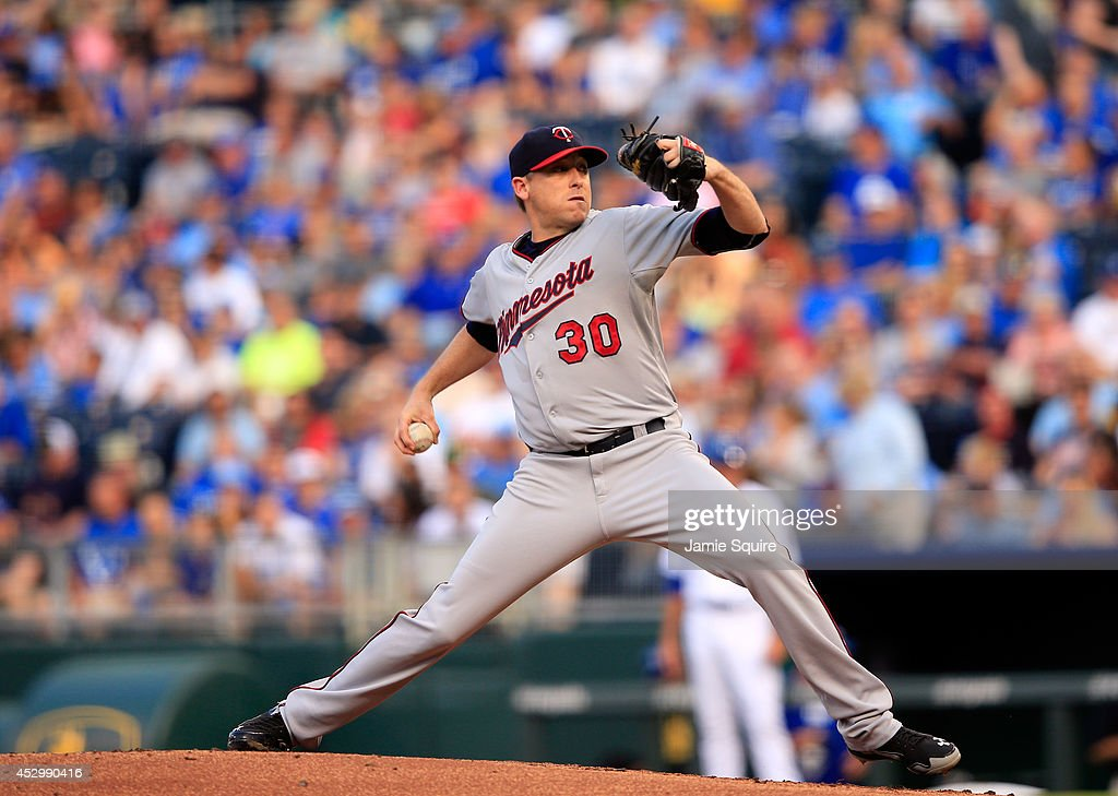 Starting pitcher Kevin Correia of the Minnesota Twins pitches during the 1st inning of the game against the Kansas City Royals at Kauffman Stadium on...