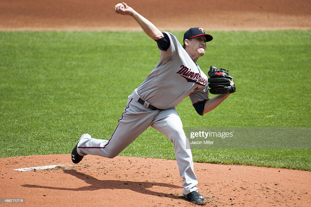 Starting pitcher Kevin Correia of the Minnesota Twins pitches during the third inning against the Cleveland Indians at Progressive Field on May 8...