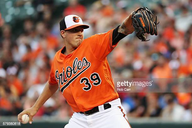 Starting pitcher Kevin Gausman of the Baltimore Orioles throws to a Cleveland Indians batter in the first inning at Oriole Park at Camden Yards on...
