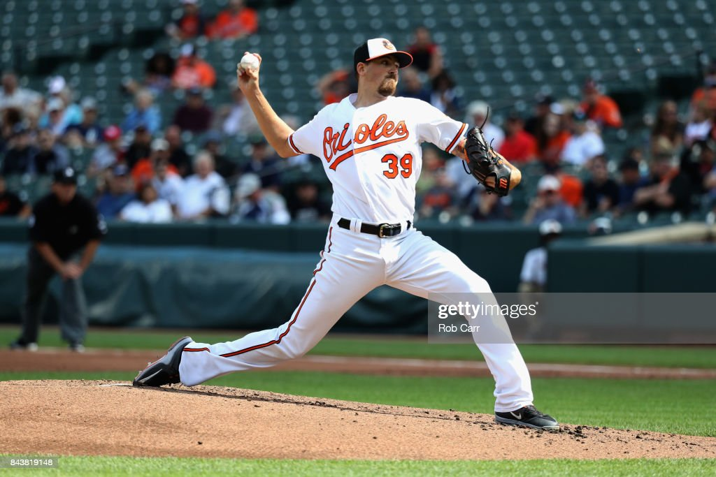 Starting pitcher Kevin Gausman #39 of the Baltimore Orioles throws to a New York Yankees batter in the first inning at Oriole Park at Camden Yards on September 7, 2017 in Baltimore, Maryland.