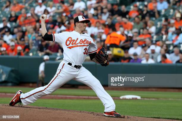 Starting pitcher Kevin Gausman of the Baltimore Orioles throws to New York Yankees batter in the first inning at Oriole Park at Camden Yards on May...