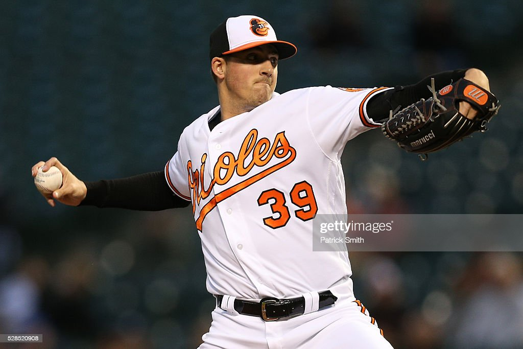 Starting pitcher <a gi-track='captionPersonalityLinkClicked' href=/galleries/search?phrase=Kevin+Gausman&family=editorial&specificpeople=6129172 ng-click='$event.stopPropagation()'>Kevin Gausman</a> #39 of the Baltimore Orioles works the first inning against the New York Yankees at Oriole Park at Camden Yards on May 5, 2016 in Baltimore, Maryland.