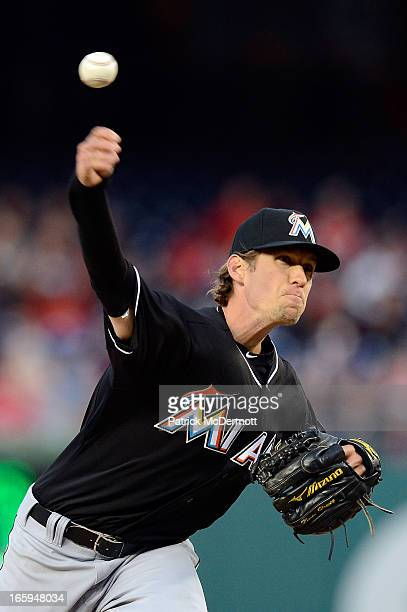 Starting pitcher Kevin Slowey of the Miami Marlins throws a pitch during a game against the Washington Nationals at Nationals Park on April 3 2013 in...