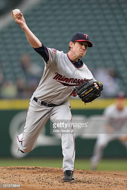 Starting pitcher Kevin Slowey of the Minnesota Twins pitches against the Seattle Mariners at Safeco Field on June 2 2010 in Seattle Washington