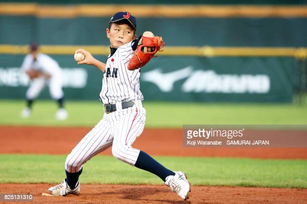 Starting Pitcher Kota Kato of Japan throws in the top of the second inning during the WBSC U12 Baseeball World Cup Group A match between Brazil and...