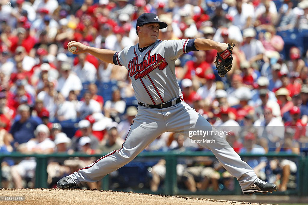 Starting pitcher <a gi-track='captionPersonalityLinkClicked' href=/galleries/search?phrase=Kris+Medlen&family=editorial&specificpeople=5743982 ng-click='$event.stopPropagation()'>Kris Medlen</a> #54 of the Atlanta Braves throws a pitch during a game against the Philadelphia Phillies at Citizens Bank Park on July 7, 2013 in Philadelphia, Pennsylvania.