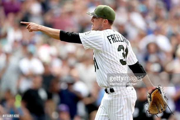 Starting pitcher Kyle Freeland of the Colorado Rockies celebrates the thrid out of the eighth inning against the Chicago White Sox at Coors Field on...