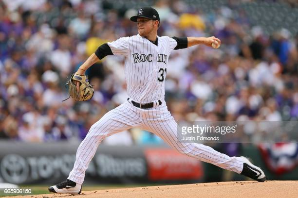 Starting pitcher Kyle Freeland of the Colorado Rockies delivers to home plate during the first inning of the opening day game against the Los Angeles...