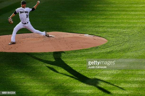 Starting pitcher Kyle Freeland of the Colorado Rockies delivers to home plate during the second inning against the St Louis Cardinals at Coors Field...