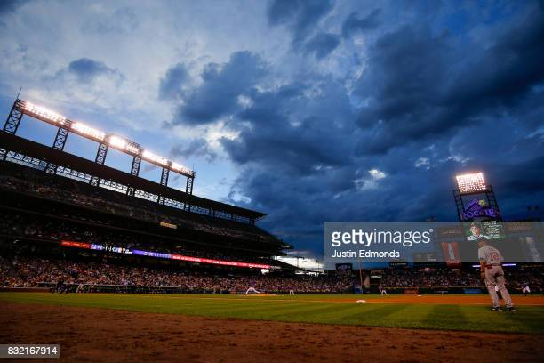 Starting pitcher Kyle Freeland of the Colorado Rockies delivers to home plate during the fourth inning against the Atlanta Braves at Coors Field on...