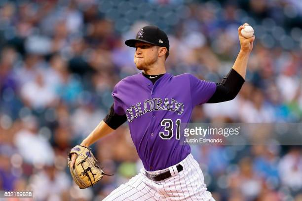 Starting pitcher Kyle Freeland of the Colorado Rockies delivers to home plate during the first inning against the Atlanta Braves at Coors Field on...