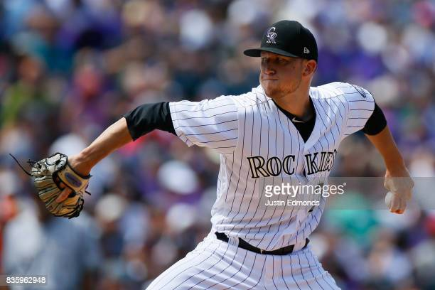 Starting pitcher Kyle Freeland of the Colorado Rockies delivers to home plate during the third inning against the Milwaukee Brewers at Coors Field on...